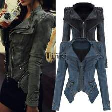 Women Denim Jeans Jacket Punk Rivet Studded Shoulder Notched Lapel Coat TXWD