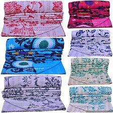 Vintage Kantha Quilt Cotton Twin Size Bedspread Throw Indian Handmade Home Decor