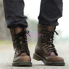 Punk Gothic Mens Combat Military Rock Retro Boots Chic Shoes Low Heels Lace Ups