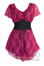 Plus Size Black & Pink Orchid Printed Lace Sweetheart Corset Top 1X 2X 3X 4X 5X