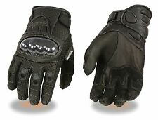 Men's Premium Leather Racing Gloves W/ Hard Knuckles & Padded Wrist
