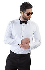New Mens Slim Fit White Wing Tip Tuxedo Dress Shirt French Cuff Formal By AZAR