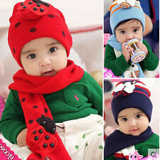 Fashion Cute Baby hat+scarf two pieces Set Warm Winter Wool Knitting Beetle Cap