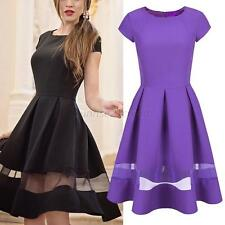 Hot Women Ladies Bodycon Short Sleeve Mini Dress Stitching Sheer Big Swing Dress