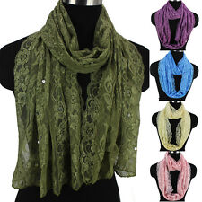Womens Flowers Leaves Pattern Sequin Crochet Hollow Lace Long/Infinity Scarf New