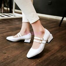 Womens Girls Buckle Crack Mary Janes Low Block Heel Mary Janes Shoes Plus Size