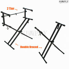Adjustable Height Music Double Braced Keyboard Stand Folding X Type Professional