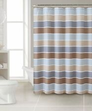 Brown Cinder Striped 100% Cotton Fabric Shower Curtain