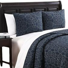 Alia 100% Cotton Bedspreads, Ultra-Soft 3PC Cotton Navy & Slate Coverlet Set