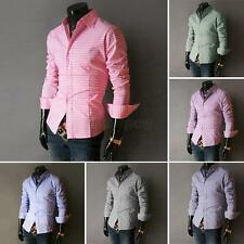 Mens Fashion Luxury Casual Shirts Slim Fit Stylish Dress Shirts Long Sleeve Tops