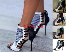 Sexy Women High Heels Summer Pumps Ankle Strap boots ladies Shoes, Black grey