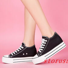New Womens Flat Heel Canvas Low Top Lace Up Platform Sneakers Trainers Shoes