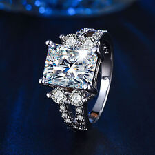 Women Lady Square Zircon Ring White Gold Plated Party Jewelry US 6-9 Fabulous