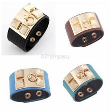 New Women Punk Metal Pyramid Rivet Wide Leather Wristband Bangle Cuff Bracelet
