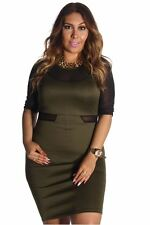 121AVENUE Classy Mesh Sleeve Two Tone Dress 2X Women Plus Size Green Casual