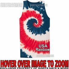 Mens Tie Dye Tank Top USA Spiral Tye Die Sleeveless T-Shirt S-XL 2X, 3X, 4X NEW!
