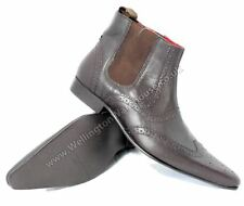 Red Tape Mens Leather Pointed Toe Chelsea Boots Brown Pull On
