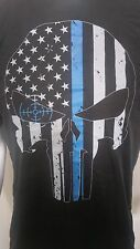 Thin Blue Line t-shirt USA flag Punisher Skull tactical 100% cotton Cross hairs