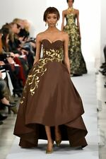 $11890 New Oscar de la Renta RUNWAY Gold brown Embroidered Silk Faille Ball Gown