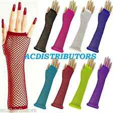 Long Fishnet Gloves Fingerless Elbow Length Fancy Dress 80s Costume Party