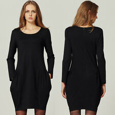 Women Casual Party Club Bodycon Dress Long Sleeve US Size 8 10 12 14 16 18 #2003