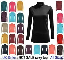 Ladies Plain Ribbed Cotton Polo Turtle Roll Neck Tunic Top Jumper L Sleeve 'Polo