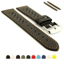 Genuine Leather Perforated Watch Strap Band RIDER Rally Racing Style Spring Bars