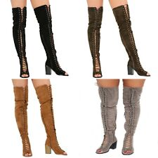 NEW WOMENS LADIES THIGH HIGH OVER THE KNEE LOW HEEL FLAT LACE UP BOOTS SHOES