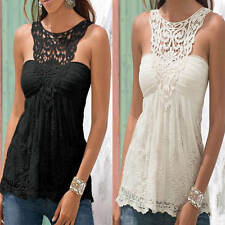 Women Lady Sexy Summer Sleeveless Top Blouse Lace Vest Tank Cami Tee T-Shirt