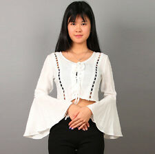 Elegant Women Crop Lace Up Blouse Cotton Flare Sleeve Cardigan T Shirt Top New