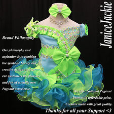 New National Pageant Cupcake Dress Seafoam Blue Lime Green. Off Shoulder Style