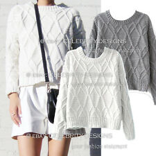 kn116 Ladies Vintage Cable Knit Sweater Long Sleeve Indie Retro Winter Jumper