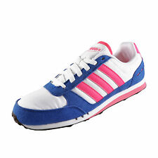 Adidas Neo City Racer Womens Classic Casual Retro Trainers White Pink Blue