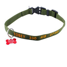Personalized Embroidered Dog Collar & ID Pet Tag Set Adjustable Size Convict