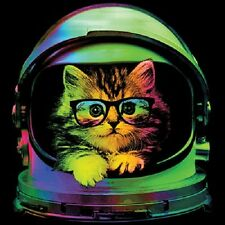 Neon Space Kitten Funny T-Shirt Little Kitty Glasses Helmet Cute Youth and Adult