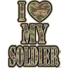 Camo I Love My Soldier T-Shirt Army Heart Military Support Husband Boyfriend Tee