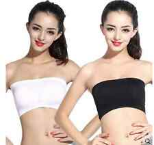 New Women Ladies Strapless Seamless Padded Boob Bandeau Tube Tops Bra