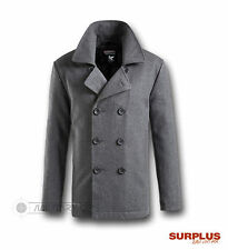 SURPLUS VINTAGE US NAVY STYLE PEA P COAT JACKET COAT WOOL GREY