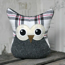 20cm Grey Check Fabric Owl Animal Door Stop Doorstop