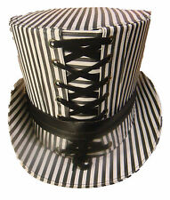Steampunk Pinstripe Tophat grey and white with black leather trim