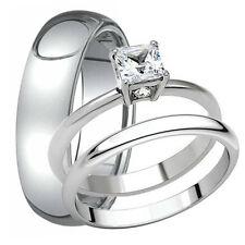 Men's Tungsten 6 mm Band and Women's Stainless Steel Engagement Wedding Ring Set