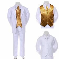 New Baby Boy Formal Wedding Party Church White Suit Tuxedo + Gold Vest Tie 2T-4T