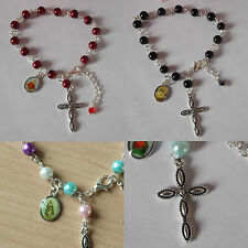 """ROSARY bracelet cross charm 7"""" glass bead pearl religious icon red blue white"""
