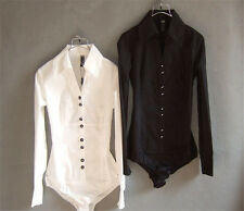 Womens OL Puff Bodysuit Long Sleeve Fashion New Slim Shirt Blouse Top Jumpsuit