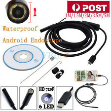 Waterproof 6 LED Android Endoscope Borescope Snake Inspection Camera Scope 7MM