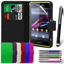 PU Leather Wallet Flip Case Cover & Film & Stylus Pen For Sony Xperia Z1 Compact