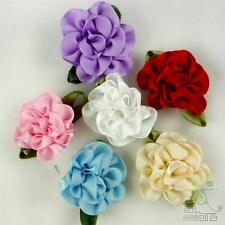 Mixed Satin Ribbon Carnation Flower Handmade Embellish Craft Scarpbook DIY Sew