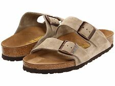 Birkenstock Womens Shoe Sandal Slide Arizona Taupe Suede Leather Sizes