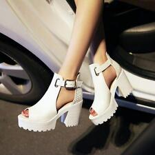 Ladies chunky high heels open toe buckle summer sandals pumps dress shoes size 5