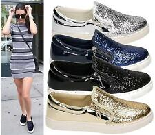 NEW LADIES WOMEN SLIP ON GLITTER PUMP SKATER TRAINER FLAT CASUAL SHOES SIZE 3-8
